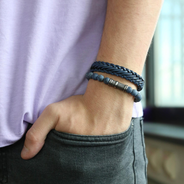 blauwe-leren-armband